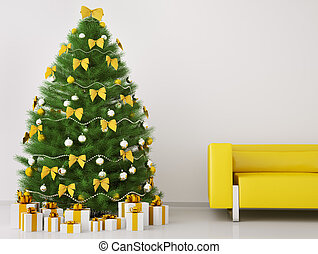 Christmas tree in the room interior 3d render - Christmas...