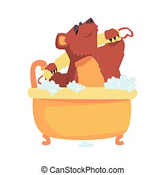 Cute cartoon bear taking a bath washing its body with washcloth, brown bear washing in foamy bathtub colorful character, animal grooming vector Illustration