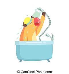 Cute cartoon cow taking a shower in a bathtub colorful character, animal grooming vector Illustration