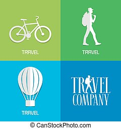 Vector illustration, logos for travel services. Sports and...
