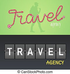 Set of travel company vector logo, icon. Design with airport...