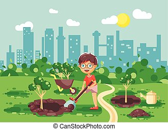 Vector illustration cartoon characters of child little lonely brunette boy digs hole in ground for planting in garden seedlings of tree watering from geek, taking care of ecology city flat style