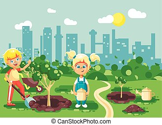 Vector illustration cartoon characters of children boy and girl dig hole in ground for planting in garden seedlings of tree watering water from geek, taking care of ecology city in flat style