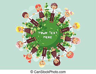 Vector illustration cartoon characters children holding hands and standing in circle with grass, bushes and trees for ecology protection, drive roundelays, lead dances flat style blue background