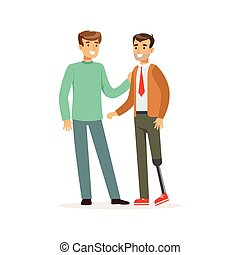 Meeting of friends, two men talking, one man with leg prosthesis, healthcare assistance and accessibility colorful vector Illustration
