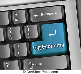 Keyboard Illustration Gig Economy - Keyboard Illustration...