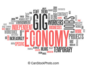 Word Cloud Gig Economy - Word Cloud with Gig Economy related...
