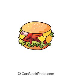 Vector burger flat isolated illustration on a white...