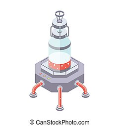 Tanks for liquid, chemical or food industry. Vector illustration in isometric projection, isolated on white background.