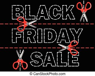 Black friday sale banner with scissors on dotted lines