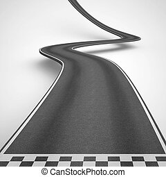 Uphill and winding road from start to finish. 3D Rendering -...