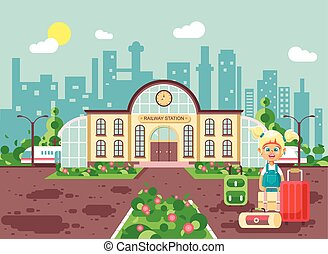 Vector illustration of cartoon characters child lonely...