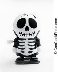 Wind up skeleton - A wind up skeleton figure on a white...