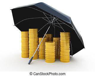 golden coins under an umbrella - Piles of golden coins under...