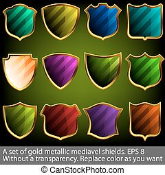 A set of gold metallic mediavel shields. EPS 8 - A set of...