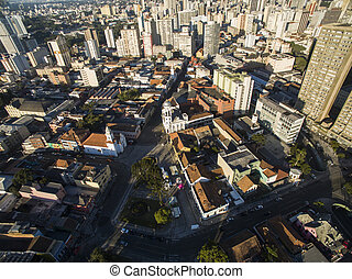 Aerial view of Curitiba cityscape, Parana State, Brazil....