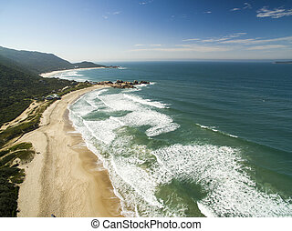 Aerial view Beach Mole (praia Mole) in Florianopolis, Santa...