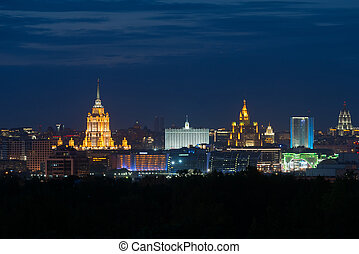 MOSCOW, RUSSIA - MAY 28, 2017: Evening view of downtown...