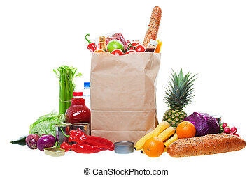 Lots of Groceries - A paper bag full of groceries,...