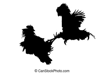 cocks that fight black on white ,creativity, symbols and...