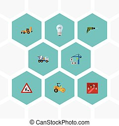 Flat Icons Bulb, Hoisting Machine, Steamroller And Other...