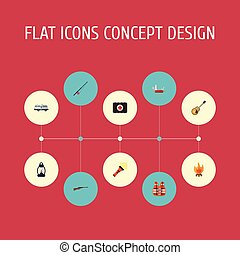 Flat Icons Fist Aid, Lifesaver, Penknife And Other Vector Elements. Set Of Encampment Flat Icons Symbols Also Includes Clash, Guitar, Torch Objects.
