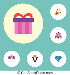 Flat Icons Brilliant, Bridegroom Dress, Present And Other Vector Elements. Set Of Marriage Flat Icons Symbols Also Includes Groom, Firecracker, Posy Objects.