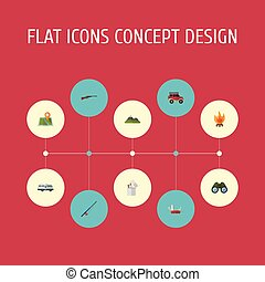 Flat Icons Fire, Location, Suv And Other Vector Elements....