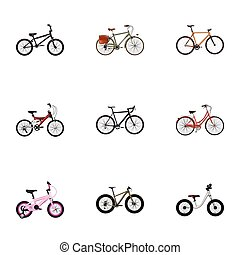 Realistic Bmx, Adolescent, Working And Other Vector Elements. Set Of Bicycle Realistic Symbols Also Includes Postman, Wooden, Old Objects.