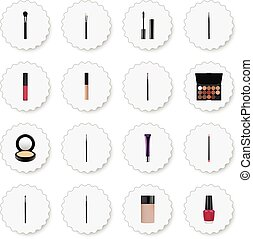 Realistic Eye Paintbrush, Multicolored Palette, Liquid Lipstick And Other Vector Elements. Set Of Cosmetics Realistic Symbols Also Includes Palette, Blusher, Ink Objects.