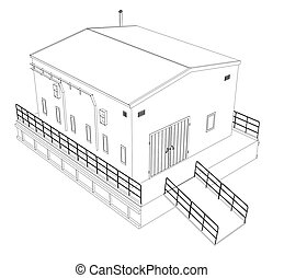 Wire-frame industrial building