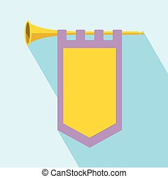 Trumpet with flag Icon - Trumpet with flag icon. Flat...
