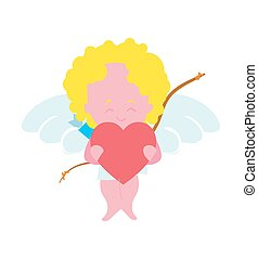 Funny cupid with heart character isolated icon