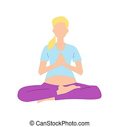 Pregnancy woman in lotus pose vector icon