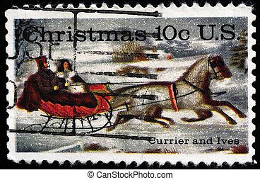 Road-Winter - UNITED STATES - CIRCA 1974: stamp printed by...