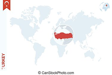 Blue world map with magnifying on Turkey.