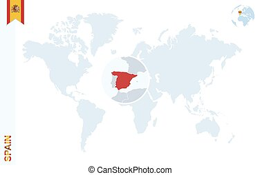 Blue world map with magnifying on Spain.