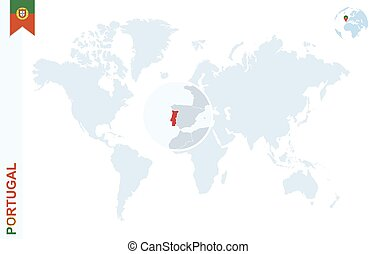 Blue world map with magnifying on Portugal.