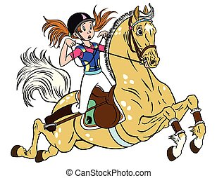 little girl on a pony horse - cartoon little girl riding a...