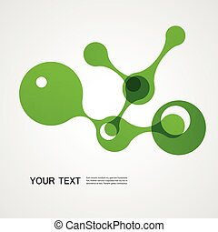 vector green molecule on a white background
