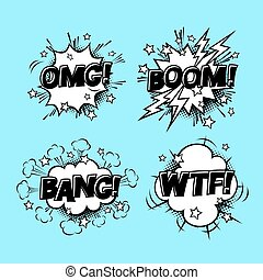 Comic speech sound bubbles set with different emotions and...