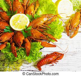 crawfish on wooden background - crawfish on wooden white...