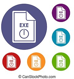 File EXE icons set in flat circle reb, blue and green color...