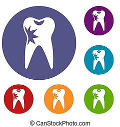 Cracked tooth icons set