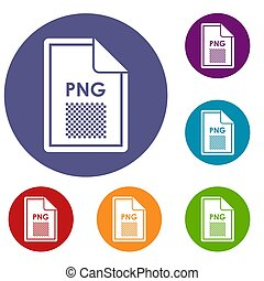 File PNG icons set in flat circle reb, blue and green color...