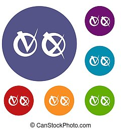 Tick and cross in circles icons set