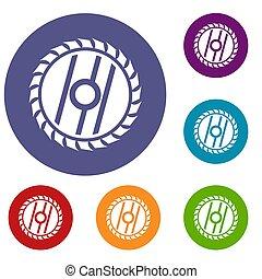 Circular saw blade icons set in flat circle reb, blue and...