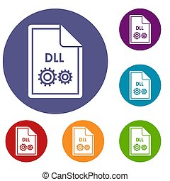 File DLL icons set in flat circle reb, blue and green color...