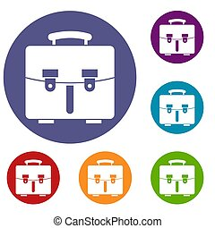Diplomat bag icons set in flat circle reb, blue and green...