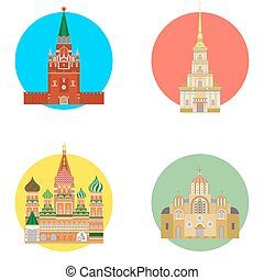 russia icons set - set in the style of a flat design on the...